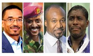 Combination photo (L-R) Paul Biya, Muhoozi Museveni, Cristel Sassou, Teodorin Obiang