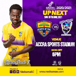 Medeama will look to complete the double over Hearts of Oak following their narrow 1-0 victory