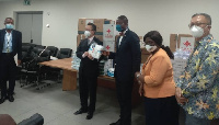 The items were presented by the Charge D'Affaires of the Chinese Embassy in Ghana Mr. Zhu Jing