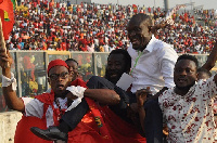 CK Akunnor was lifted shoulder-high by Kotoko supporters after the game