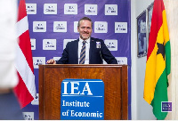 The Danish Foreign Minister, Anders Samuelsen delivering his speech at the IEA