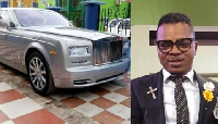 Founder of God's Way International Church, Bishop Obinim and a picture of his latest car