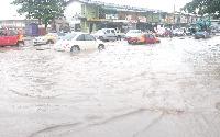 Cars submerge