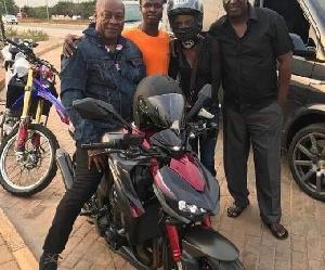 Former president, John Dramani Mahama on his motorbike.