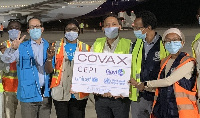 A joint WHO and UNICEF team welcome COVAX shipment in The Gambia