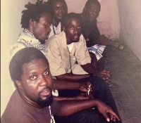 Left to right: Producer Hammer, Kwaw Kese and Sarkodie with some friends