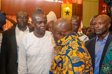 Kwesi Pratt exchanging pleasantries with President Akufo-Addo