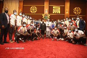 President Nana Addo Dankwa Akufo-Addo with the Black Satellites