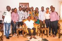 Kwahuman Hene Daasebre Akuamoah Agyepong II (C) with Domnic Eduah's team