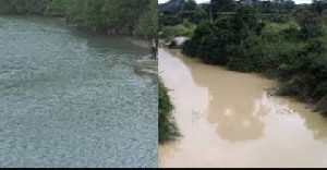 File photo of one of the decolourised rivers in Ghana
