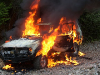 Larry's burning car