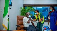 Edo State Governor, Godwin Obaseki as he receive im vaccine
