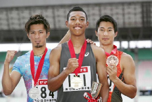 Ghanaian born Abdul Hakim Sani Brown (middle) will compete in the 4x100 race