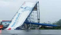 The biggest billboard in the Eastern Region wasn't able to withstand a heavy down pour