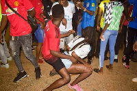 Some students dancing at the alleged sex party