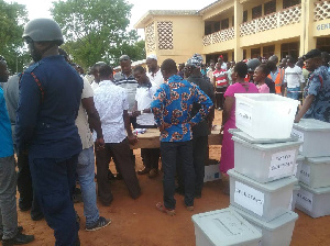 Vote counting at a pollen station in the Damongo Constituency