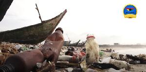 The Korle Gonno shoreline engulfed with plastic waste