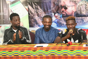 Sheriff Quaye and Michael Ansah sandwiched by the promoter