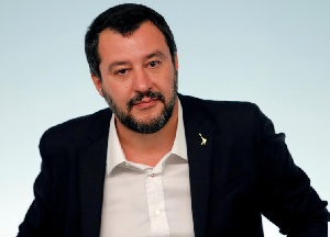 Interior Minister Matteo Salvini attends a news conference after a cabinet meeting