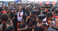 Many residents came to welcome NPP Parliamentary aspirant, Kojo Oppong Nkrumah at the funeral ground
