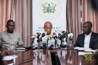 Information Minister Mustapha Hamid addressing a press conference in Accra