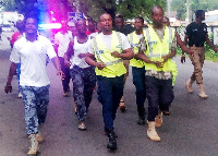 Some police officers during the exercise at the Upper West Regional police canteen area
