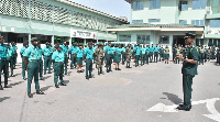 Comptroller-General of Immigration, Mr. Kwame Asuah Takyi briefing the personnel