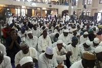 Some Muslims at Jummah prayers