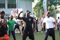 Former Black Star captain, Stephen Appiah leading a fitting session