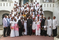 Pres. Mahama with members of the Creative Arts Industry