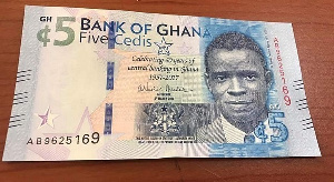 The cedi traded against the dollar at a mid-rate of 5.7515