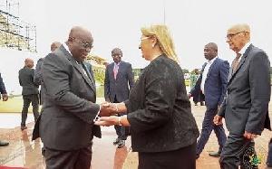 President Akufo-Addo interacting with Maltese President, Marie Louise Coleiro Preca