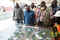 President Akufo-Addo inspecting the architecture works for the Obetsebi-Lamptey Interchange