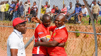 Asante Kotoko new attacker, George Abege being welcomed by the club CEO
