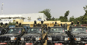Some military trucks in Chad