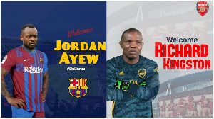 A photoshopped picture of Jordan Ayew and Richard Kingson