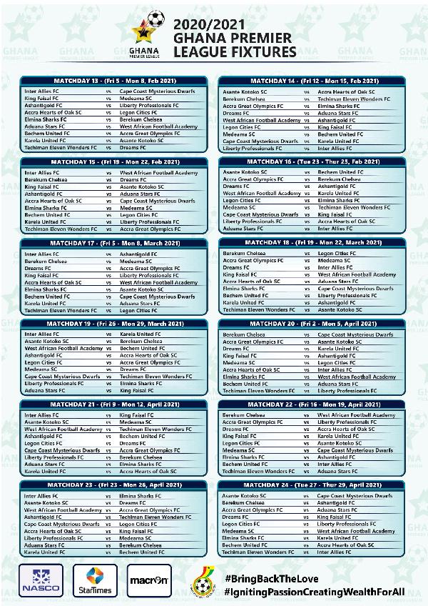 Full list: 2020/21 Ghana Premier League fixtures 3