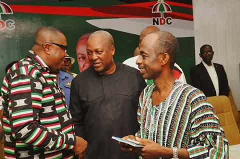 Former President Mahama with Ofosu Ampofo and Asiedu Nketia