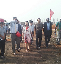 Chinese Ambassador to Ghana, H.E. Sun Baohong (middle) with her entourage