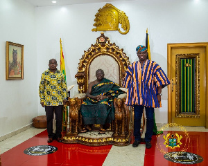 Mustapha Ussif, Simon Osei Mensah with Otumfuo