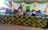 Volta Regional Minister, Dr. Archibald Yao Letsa addressing the Extension Agents.