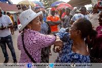 Dr Zanetor spoke to market women at Adabraka to avoid handshakes.