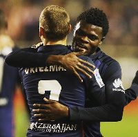 Ghanaian youth midfielder Thomas Partey with Griezman