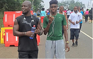 Stephen Appiah and son Rodney Appiah