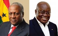 President Mahama [L] and Nana Akufo Addo
