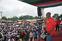 Vice President Kwesi Amissah-Arthur speaking at the NDC rally at New Abirem