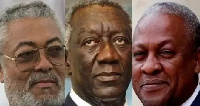 From left ,former President Jerry John Rawlings ,J A Kufour (M) and Ex- President Mahama