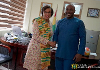 Sports Minister Isaac Asiamah exchange pleasantries with Patricia Scotland