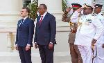 President Uhuru Kenyatta with French President Emanuel Macron in Nairobi (file photo)
