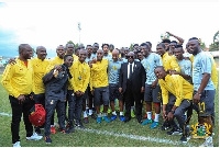 President Akufo-Addo in a pose with the Black Stars squad